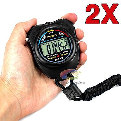 2x Handheld Digital LCD Chronograph Sports Counter Stopwatch Timer Stop Watch OZ