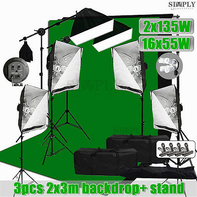Photography Studio Softbox Lighting Soft box Light Boom Arm Stand 3 Backdrop Kit