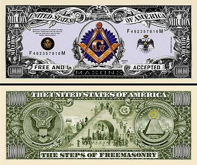 original FreeMasons Million Dollar Collectible Funny Money Novelty Note