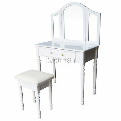 FoxHunter Makeup Dressing Table Set With Stool 1 Drawer Mirror Jewelry Desk Wood