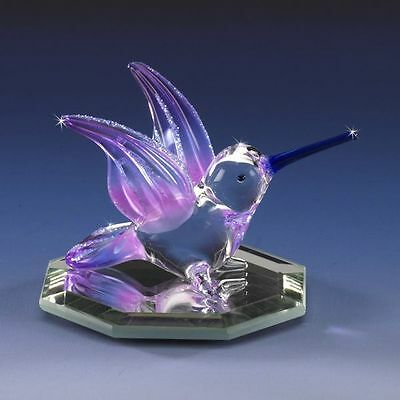 Miniature Hummingbird Lavender Purple Airbrushed Hand-Crafted Glass Figurine