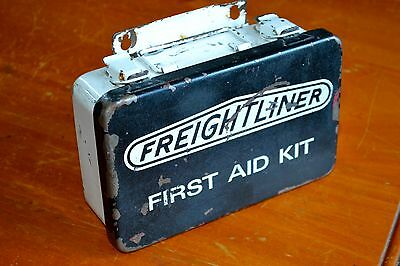 Complete Freightliner First Aid Kit Made Of Metal - Vintage Medical Retro
