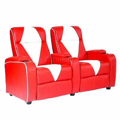 FoxHunter Leather Retro Cinema Movie Chair Sofa 2 Seat Electric Recliner Red