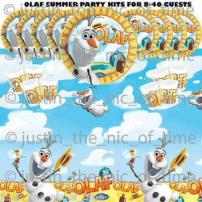 FROZEN OLAF Boys Girls Plates Napkins Birthday Tableware PARTY KITS 8-40 Guests