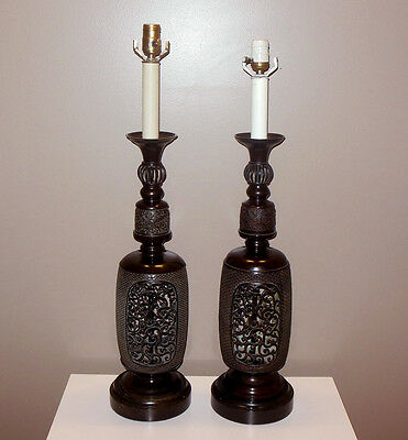Pair Monumental Frederick Cooper Asian Chinese Dark Metal Candlestick Lamps