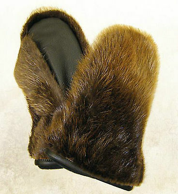Men Natural Beaver Fur Mittens Leather Trim All Sizes Removable Inside