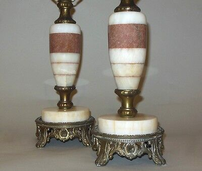 Pr. Inlaid Marble Lamps Marbre Rouge Vintage Antique Italian French RARE