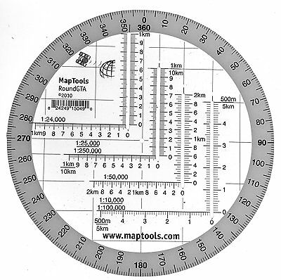 Round Military Coordinate Scale and Protractor by MapTools NEW
