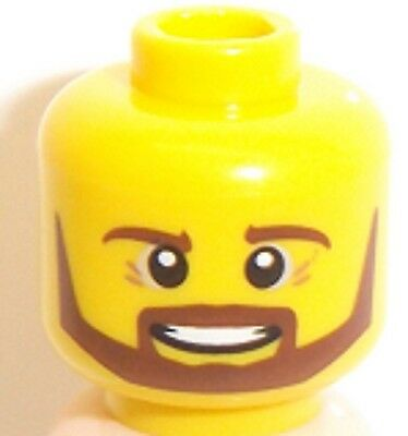 Lego 2x Yellow Head Crows Feet Wrinkle Gray Beard NEW
