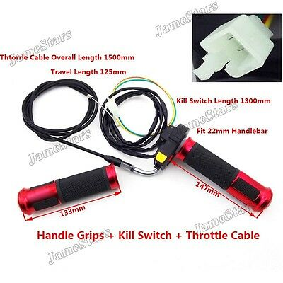 Kill Switch Red Handle Grips Throttle Cable Motorized Bicycle 50cc 60cc 80cc