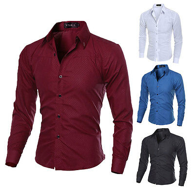 New Mens Luxury Stylish Casual Long Sleeve Dress Shirts Men's Slim Fit Shirts