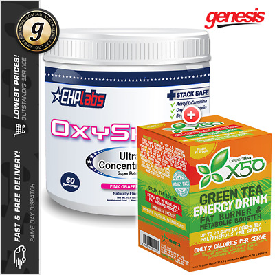 EHPLabs OXYSHRED Thermogenic Fat Burner + Green Tea X50 *30 Serve* Fat Loss Tea