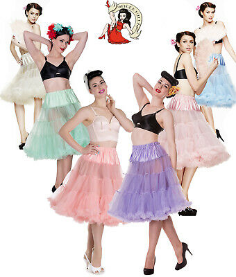 Hell Bunny 50'S ROCKABILLY LUNGO (63.5/68.6CM) Jive SWING sottoveste pastello