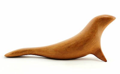 A Kauri wood carving of a seal. New Zealand sculpture. Mid century style