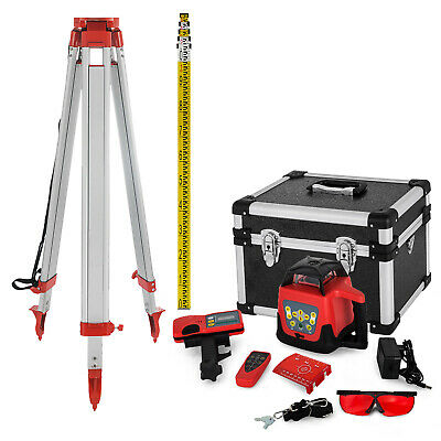 Rotary Red Laser Level + Tripod + 5M Staff Cross Line Self-Rotating Construction