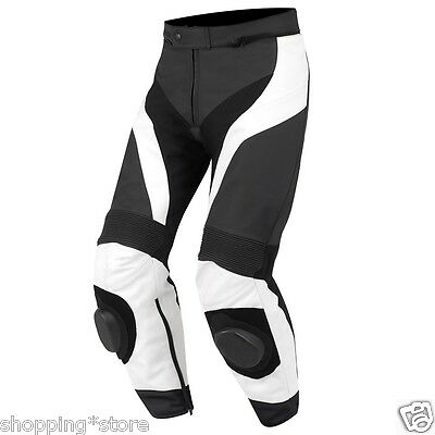 Black/white Motorcycle Leather Trouser Motorbike Pant Leather Trouser Xs-4Xl