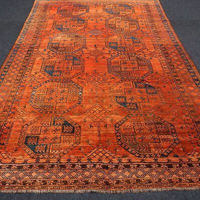 Antiker Orient Teppich 363 x 227 cm Alter Afghan Ersari Antique Old Carpet Rug
