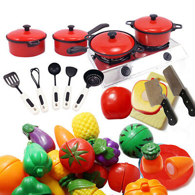 Children Kids Play Toys Kitchen Utensils Pots Pans Cooking Food Dishes Cookware