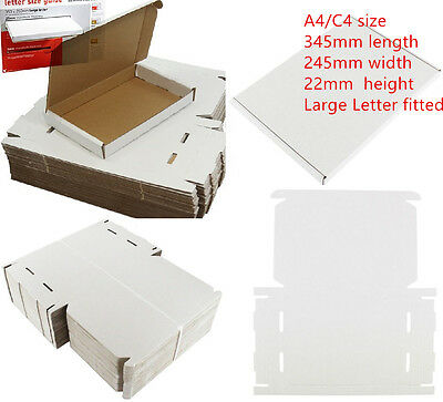 WHITE C4 A4 SIZE BOX 240x345x22mm ROYAL MAIL LARGE LETTER CARDBOARD SHIP PIP 4U