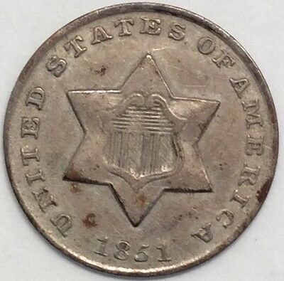 1851 3C Silver Three Cent Piece #