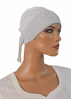 wholesale lot of 2 Hijab underscarf  Sparkle Hijab cap W Ties Black and White