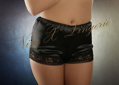 Nine X - French Satin Knickers With Lace Trim S M L XL 2XL 3XL Black