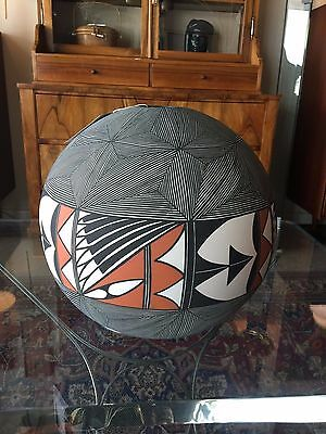 Extra Large Acoma Ball With Geometric Design Artist Signed Mid Century Modern