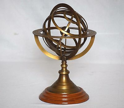 """Nautical Brass Marine Armillary Collectible Vintage Sphere Engraved World Map 8"""""""