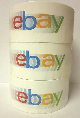 "3 Rolls of eBay LOGO BOPP Packing Shipping Tape 75 Yards x 2"" Wide Box Seal Tape"