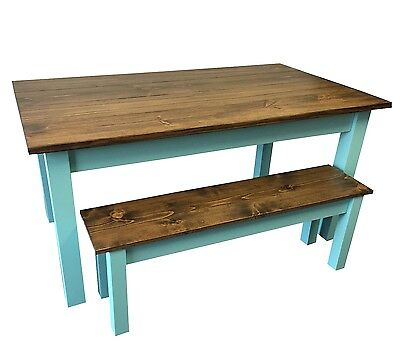 Vintage Blue Farmhouse Table (Rustic Harvest Farmhouse Kitchen Dinning Table )