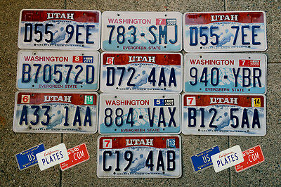 10 Utah Ski And Washington License Plates Tags Bulk Price Set Lot Snow Art Decor