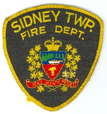 Vintage Sidney Township Fire Department Uniform Patch Ontario ON Canada
