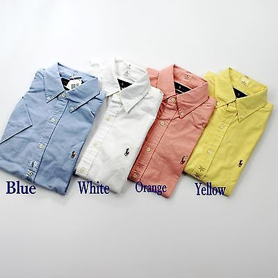 NWT Men's Polo Ralph Lauren Short Sleeved Slim Fit Oxford Shirt Solid Colors NEW