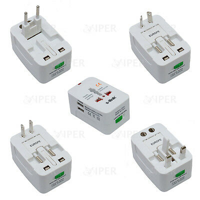 Travel Plug Adaptor Universal Usb Port Europe USA Dual Charger Power Holiday