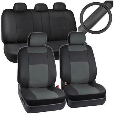 Car Seat Covers/Black & Charcoal/Two Tone Synth Leather/Steering Wheel Cover