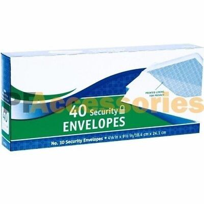 40 Ct #10 Regular Security White Letter Mailing Shipping Envelopes 4-1/8 x 9-1/2