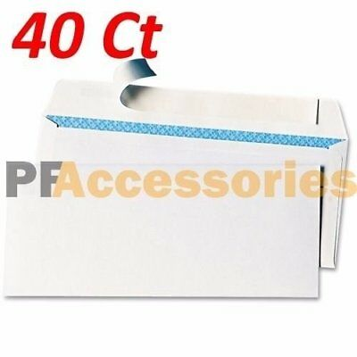 40 Ct #6-3/4 Regular Self-Seal Security White Letter Mailing Shipping Envelopes