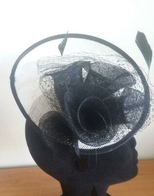 Exquisite Handmade Black & White Sinamay Fascinator With Feathers & Flowers