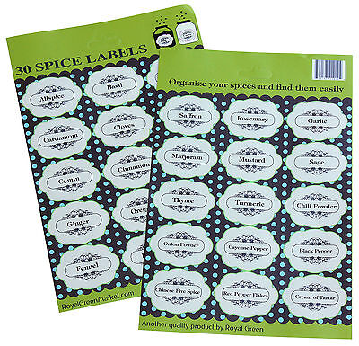 Spice Labels Decorative For Jars, Bottles, Easy to Stick Permanent Stickers