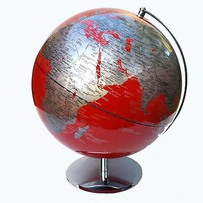 VIBRANT HIGH QUALITY Large Red Educational World Globe Home Decor Gift 30cm