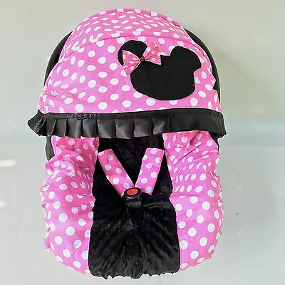 baby car seat cover canopy cover set minnie mouse style pink black fit most seat