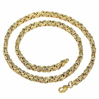 MENDINO Men's Stainless Steel Necklace Byzantine Box Link Chain Gold Tone 5mm
