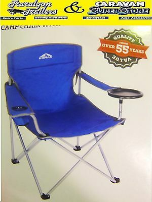 Roman high back BBQ chair seat blue camping camp fishing with plate holder CC3
