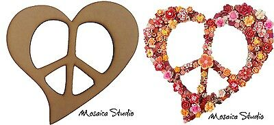Peace Heart - Wooden Cut-out 300x300mm
