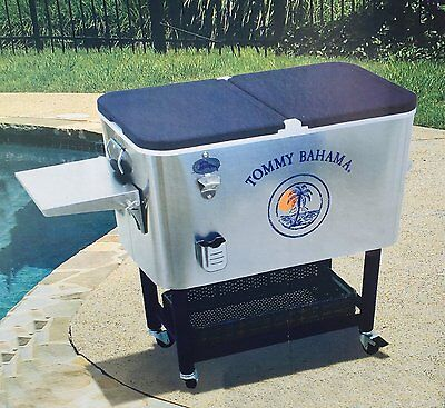 Tommy Bahama 96 Litres Stainless Steel Rolling Cool Box/Party Cooler Brand New