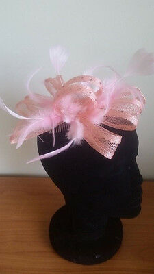 Stunning Pink Sinamay Fascinator With Feathers, Crystals & Loops,Spring  Races