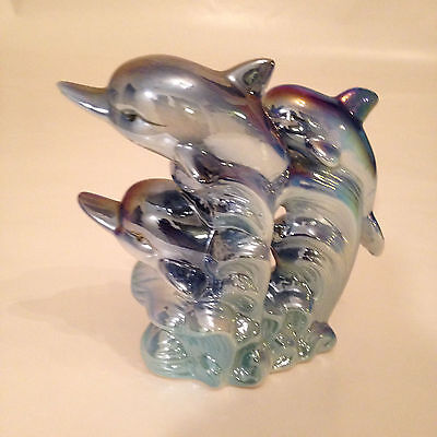 Vintage Dolphin family 3  Figurine Condition Iridescant Blue Porcelain