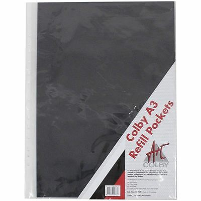 Colby A3 Refillable Display Book Refill Pockets Clear 10 Pack Art Storage