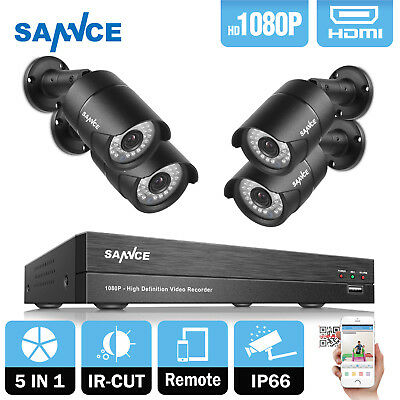 SANNCE 4CH Full 1080P HD DVR 2.0MP Outdoor CCTV Home Security Camera System Kit