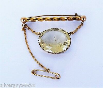 Gorgeous Vintage Beautiful 15ct Yellow Gold Citrine Brooch